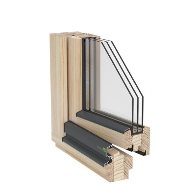Window wooden Thermo profile 80